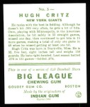 1933 Goudey Reprints #3  Hughie Critz  Back Thumbnail