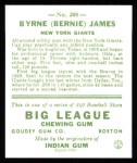 1933 Goudey Reprints #208  Bernie James  Back Thumbnail