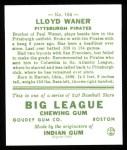 1933 Goudey Reprints #164  Lloyd Waner  Back Thumbnail