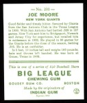 1933 Goudey Reprints #231  Joe Moore  Back Thumbnail