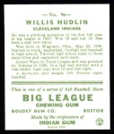 1933 Goudey Reprints #96  Willis Hudlin  Back Thumbnail