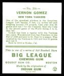 1933 Goudey Reprints #216  Lefty Gomez  Back Thumbnail