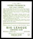 1933 Goudey Reprints #138  Herb Pennock  Back Thumbnail