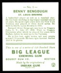 1933 Goudey Reprints #1  Benny Bengough  Back Thumbnail