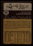 1973 Topps #534  Dave Lemonds  Back Thumbnail