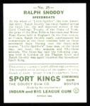 1933 Sport Kings Reprints #25  Ralph Snoddy   Back Thumbnail