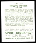 1933 Sport Kings Reprints #27  Roscoe Turner   Back Thumbnail