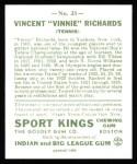 1933 Sport Kings Reprints #23  Vincent Richards   Back Thumbnail