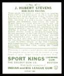 1933 Sport Kings Reprints #47  J.H. Stevens   Back Thumbnail