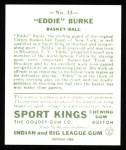 1933 Sport Kings Reprints #33  Eddie Burke   Back Thumbnail