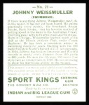 1933 Sport Kings Reprints #21  John Weissmuller   Back Thumbnail