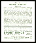 1933 Sport Kings Reprints #43  Primo Carnera   Back Thumbnail