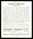 1933 Sport Kings Reprints #43  Primo Carnera   Back Thumbnail