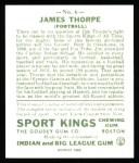1933 Sport Kings Reprints #6  Jim Thorpe   Back Thumbnail