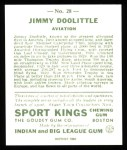 1933 Sport Kings Reprints #28  James Doolittle   Back Thumbnail