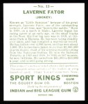 1933 Sport Kings Reprints #13  Laverne Fator   Back Thumbnail