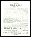 1933 Sport Kings Reprints #19  Eddie Shore   Back Thumbnail