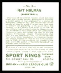 1933 Sport Kings Reprints #3  Nat Holman   Back Thumbnail