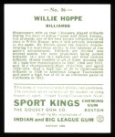 1933 Sport Kings Reprints #36  Willie Hoppe   Back Thumbnail