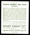 1933 Sport Kings Reprints #2  Babe Ruth   Back Thumbnail