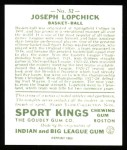 1933 Sport Kings Reprints #32  Joe Lapchick   Back Thumbnail