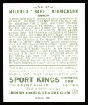 1933 Sport Kings Reprints #45  Babe Didrickson   Back Thumbnail