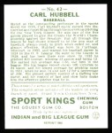 1933 Sport Kings Reprints #42  Carl Hubbell   Back Thumbnail