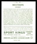 1933 Sport Kings Reprints #39  Jack Westrope   Back Thumbnail