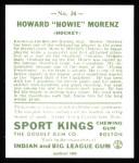 1933 Sport Kings Reprints #24  Howie Morenz   Back Thumbnail