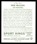 1933 Sport Kings Reprints #12  Bobby McLean  Back Thumbnail