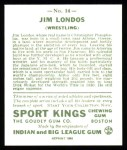 1933 Sport Kings Reprints #14  Jim Londos   Back Thumbnail
