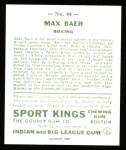 1933 Sport Kings Reprints #44  Max Baer   Back Thumbnail