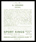 1933 Sport Kings Reprints #10  Anton Lekang   Back Thumbnail
