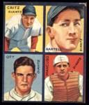 1935 Goudey 4-in-1 Reprints #4 A Dick Bartell / Hugh Critz / Gus Mancusco / Mel Ott  Front Thumbnail