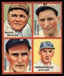 1935 Goudey 4-in-1 Reprints #5 A Babe Ruth / Marty McManus / Eddie Brandt / Rabbit Maranville  Front Thumbnail