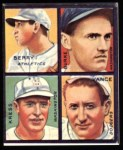 1935 Goudey 4-in-1 Reprints #4 C Charley Berry / Robert Burke / Red Kress / Dazzy Vance  Front Thumbnail