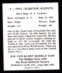 1948 Bowman Reprints #8  Phil Rizzuto  Back Thumbnail