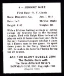 1948 Bowman Reprints #4  Johnny Mize  Back Thumbnail