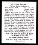 1948 Bowman Reprints #41  Rex Barney  Back Thumbnail
