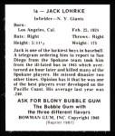 1948 Bowman Reprints #16  Jack Lohrke  Back Thumbnail