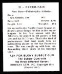 1948 Bowman Reprints #21  Ferris Fain  Back Thumbnail
