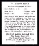 1948 Bowman Reprints #10  Buddy Rosar  Back Thumbnail