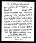 1948 Bowman Reprints #46  Herman Wehmeier  Back Thumbnail