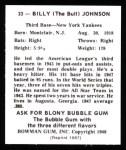 1948 Bowman Reprints #33  Bill Johnson  Back Thumbnail