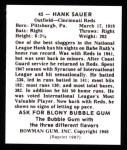 1948 Bowman Reprints #45  Hank Sauer  Back Thumbnail