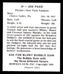 1948 Bowman Reprints #29  Joe Page  Back Thumbnail