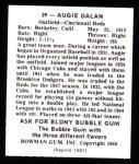 1948 Bowman Reprints #39  Augie Galan  Back Thumbnail