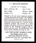 1948 Bowman Reprints #9  Walker Cooper  Back Thumbnail