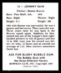 1948 Bowman Reprints #12  Johnny Sain  Back Thumbnail