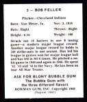 1948 Bowman Reprints #5  Bob Feller  Back Thumbnail